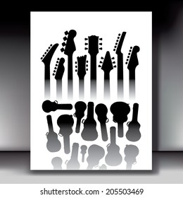 Guitars and Cases in this music background for Print or Web