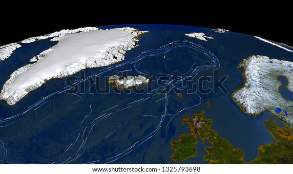 Gulf Stream. System of warm currents in the North Atlantic. 3d rendering. Elements of this image furnished by NASA