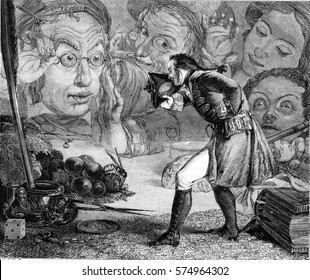 Gulliver sets on a table has the admiration of the people of Borbdingnag, vintage engraved illustration. Magasin Pittoresque 1845.