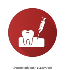 Gum injection flat design long shadow glyph icon. Dental anesthesia. Raster silhouette illustration