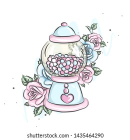 Gum machine. Transparent round glass candy dispenser with colorful chewing gum. Machine with candy and flowers roses. can be used as stickers or postcards, print for t-shirts, fabrics, paper.