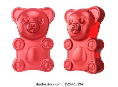 Gummy bear on a white background. Jelly bear. 3D illustration