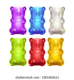 Gummy Bears. Colored sweet jelly marmalade teddy bears. Realistic illustration. 3D illustration