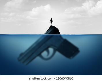 Gun concept as a child standing on a giant firearm submerged in water as a symbol for guns and violence and the risk of weapons on vulnerable children with 3D illustration elements.