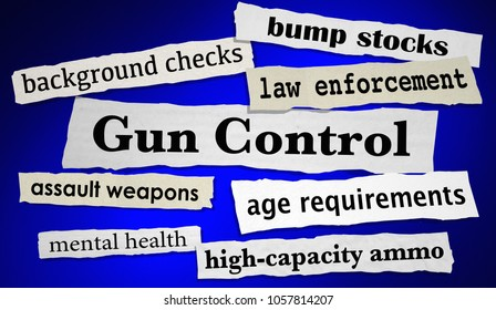 Gun Control Headlines News Reduce Shootings Violence 3d Illustration