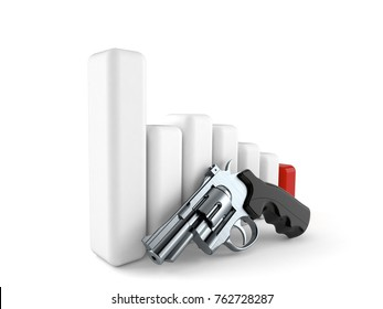 Gun crisis isolated on white background. 3d illustration