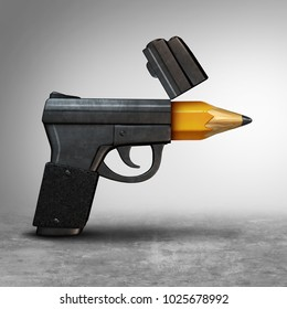 Gun education or guns safety learning or school shooting concept as a handgun pistol shaped as a pencil as a 3D illustration.