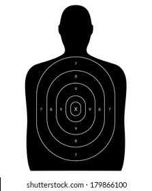 Gun firing range target shaped like a human, blank with no bullet holes. Isolated on a white background with clipping path.