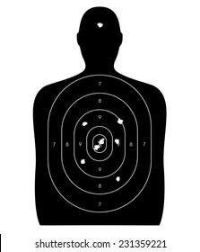 Gun firing range target shaped like a human, with bullet holes in the bull's-eye and a headshot. Isolated on a white background with clipping path.