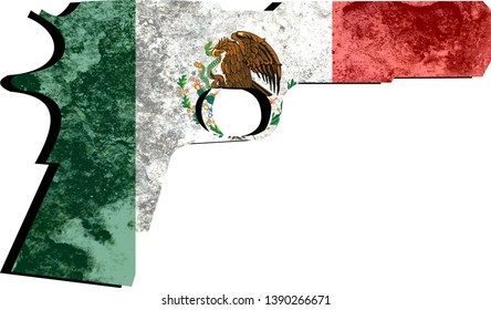Gun in flag colors Mexico