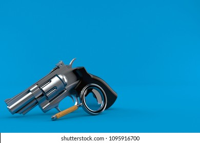 Gun with magnifying glass isolated on blue background. 3d illustration