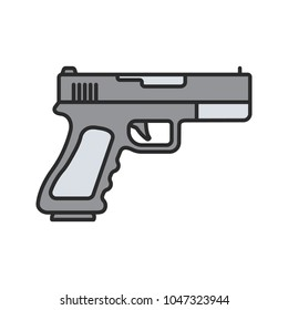 Gun, pistol color icon. Firearm. Isolated raster illustration
