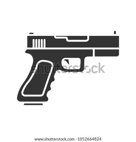Gun Pistol Glyph Icon Firearm Silhouette Stock Illustration