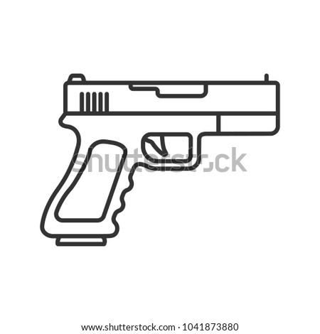 Gun Pistol Linear Icon Thin Line Stock Illustration 1041873880