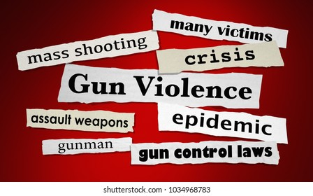 Gun Violence Newspaper Headlines Shooting Attack 3d Illustration