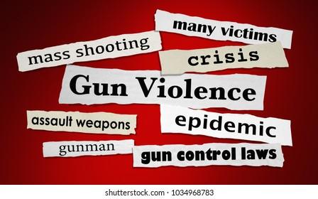 Gun Violence Newspaper Headlines Shooting Attack 3d Illustration