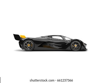 Gunmetal black racing super car with yellow details - side view - 3D Illustration