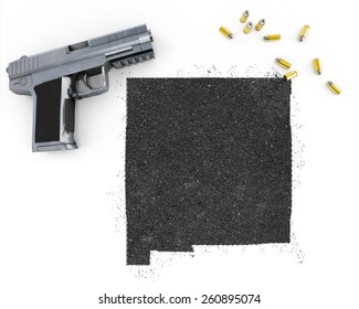 Gunpowder forming the shape of New Mexico and a handgun.(series)