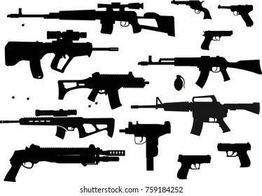 Guns collection set of Bullet. Bullet Hole