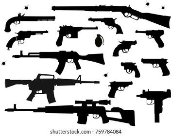 Guns: pistol and revolver
