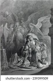 """Gustave Dore illustration of Edgar Allan Poe's """"The Raven;"""" the poem's narrator with visions of angels surrounding the beloved departed Lenore. 1883."""
