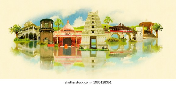 Guwahati city colored watercolor painting illustration