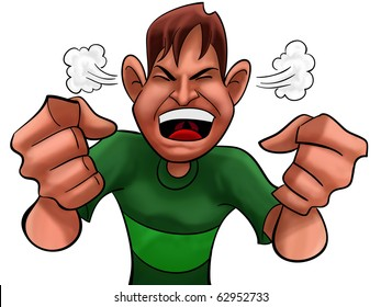 A guy too angry with green shirts