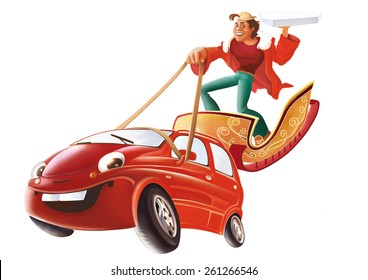 Guy with the box of pizza in his hand standing on the sleigh and driving the red car