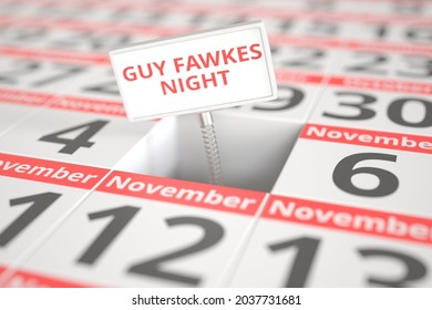Guy fawkes night sign in a calendar,  3D rendering