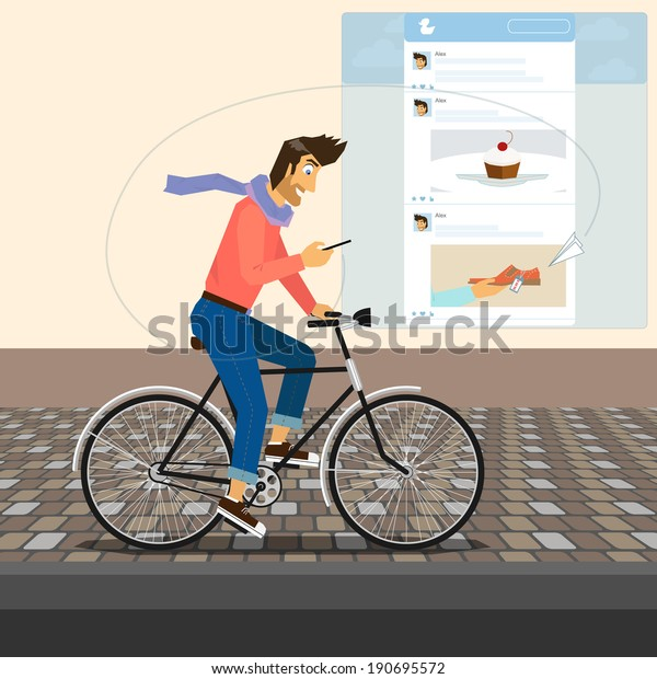 Guy is riding a bike and checking his account on social networking. Illustration of young man reading news and posting photos and video in networks, blog and community. Modern addiction to blogging
