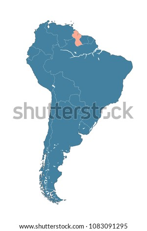 Guyana On Map South America Stock Illustration - Royalty Free Stock ...
