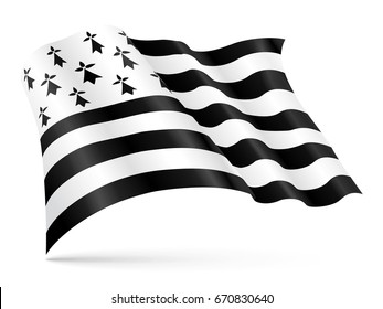 Gwen-ha-Du black and white flag of Brittany waving on wind