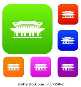 Gyeongbokgung palace, symbol of Seoul set icon in different colors isolated  illustration. Premium collection