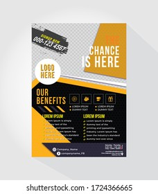 Gym A4/A5 Creative Dark Flyer Design, Poster design sports template.