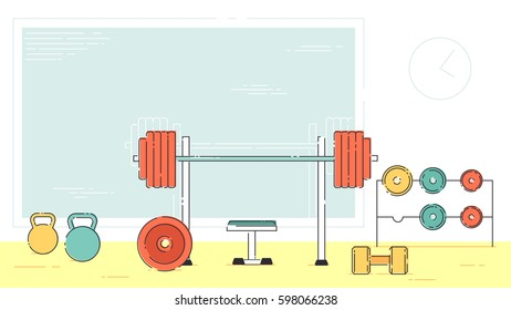Gym exercise equipment room interior indoor stock illustration