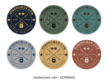 Gym logo color set in vintage style. Illustration