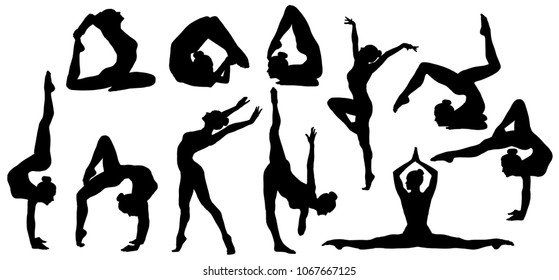 Gymnastics Poses Silhouette, Set of Flexible Gymnast Exercise, Acrobat Back Bend and Hand Stand Pose, People Shapes on White Background