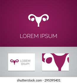 gynecology logo template icon design elements with business card