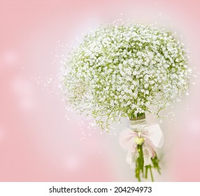 Gypsophila (Baby's-breath flowers) Bouquet on Pink Background