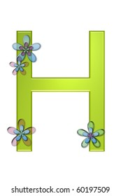 H Alphabet letter seems to be made of bright green gelatin.  It is decorated with semi-transparent, three layer, flowers in pink, blue and green.