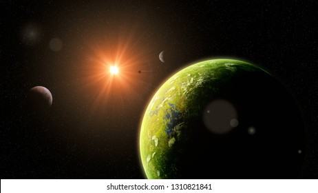 habitable alien world, exoplanets around a distant star, life on exotic planet (3d space illustration)