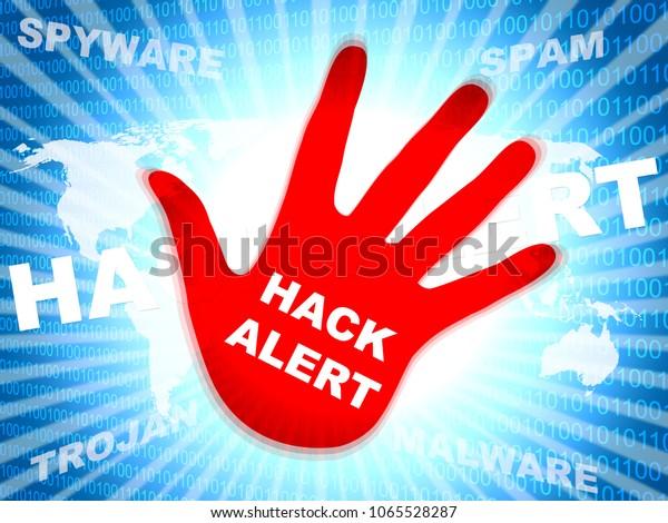 Hack Alert Hand Showing Hacking 3d Stock Illustration 1065528287