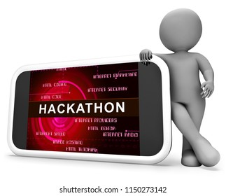 Hackathon Code Malicious Software Hack 3d Rendering Shows Cybercrime Coder Convention Against Threats Or spyware Viruses
