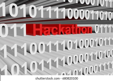 Hackathon in the form of binary code, 3D illustration