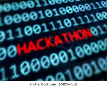Hackathon red text between blue binary data on pixels screen 3D rendered with depth of field