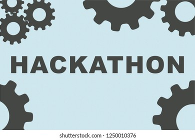 HACKATHON sign concept illustration with green gear wheel figures on pale green background