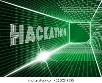 Hackathon Technology Threat Online Coding 3d Illustration Shows Cybercrime Coder Meeting To Stop Spyware Or Malware Hacking