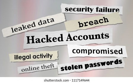 Hacked Accounts Newspaper Headlines Online Theft 3d Render Illustration