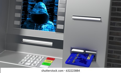 Hacked ATM while inserting credit card showing hoody hacker on the screen 3D illustration