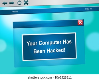 Hacked Computer Popup Message On Laptop Computer 3d Illustration. Russians Stealing Online Information By Spying And Tampering On Digital Network.